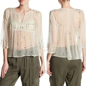 Free People Sz S Mint green sheer jeweled blouse